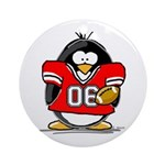 Red Football Penguin Ornament (Round)