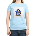 Blue Football Penguin Women's Pink T-Shirt