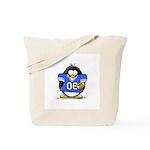Blue Football Penguin Tote Bag