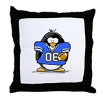 Blue Football Penguin Throw Pillow