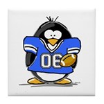 Blue Football Penguin Tile Coaster