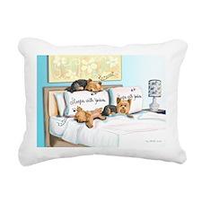 Sleeps with Yorkies Rectangular Canvas Pillow