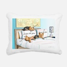 Sleeps with Yorkies Rectangular Canvas Pillow