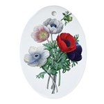 Poppy Anemones Ornament (Oval)