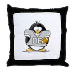Silver Football Penguin Throw Pillow