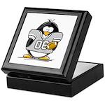 Silver Football Penguin Keepsake Box