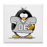 Silver Football Penguin Tile Coaster