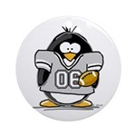 Silver Football Penguin Ornament (Round)