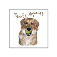 "Golden Tennis Anyone Square Sticker 3"" x 3"""