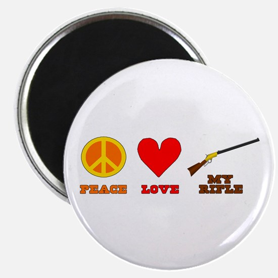 """Peace Love My Rifle 2.25"""" Magnet (10 pack)"""