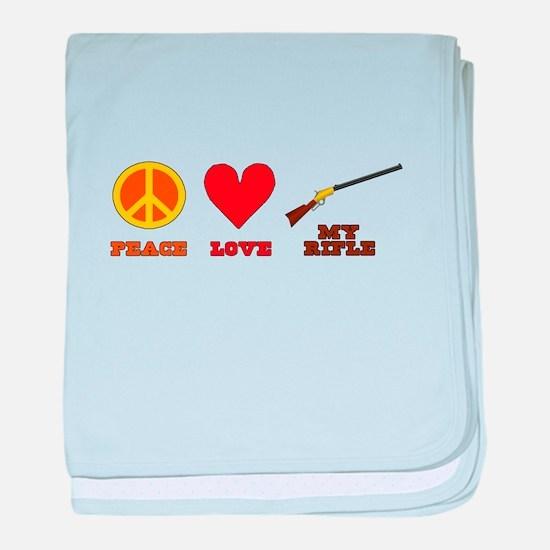 Peace Love My Rifle baby blanket