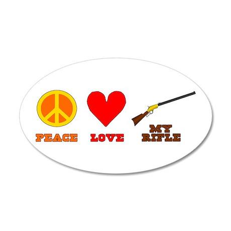 Peace Love My Rifle 35x21 Oval Wall Decal