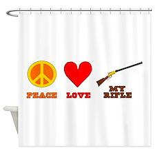 Peace Love My Rifle Shower Curtain