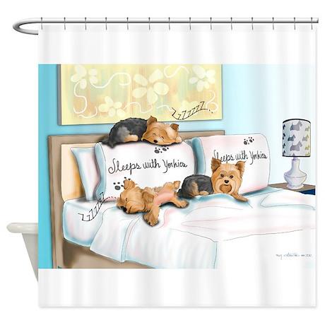Sleeps with Yorkies- Shower Curtain