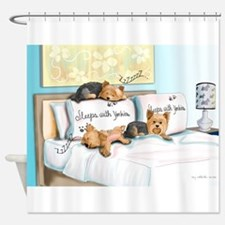 Sleeps with Yorkies- Shower Curtain