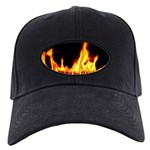 Fire License Plate Black Cap