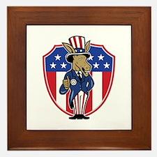 Democrat Donkey Mascot Thumbs Up Flag Framed Tile