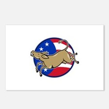 Democrat Donkey Mascot American Flag Postcards (Pa