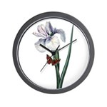 Iris with Butterfly Wall Clock