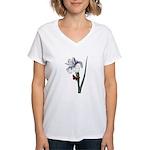 Iris with Butterfly Women's V-Neck T-Shirt