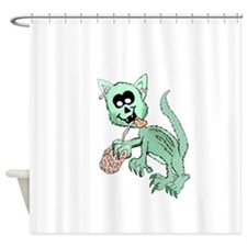 Zombie Cat Shower Curtain