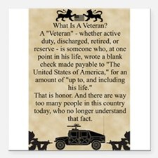 "What is a Veteran Square Car Magnet 3"" x 3"""