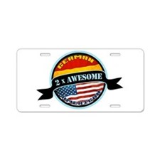 German American 2x Awesome Aluminum License Plate
