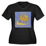 USS LOWRY Women's Plus Size V-Neck Dark T-Shirt