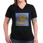 USS LOWRY Women's V-Neck Dark T-Shirt