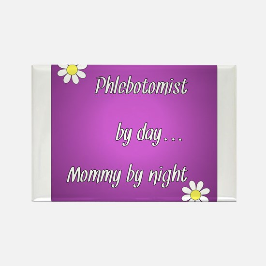 Phlebotomist by day Mommy by night Rectangle Magne