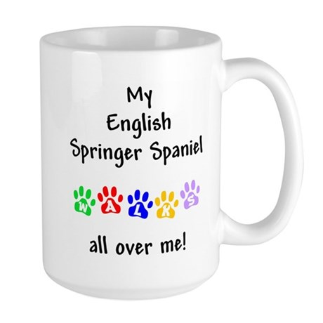 English Springer Walks Large Mug