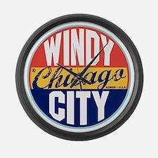 Chicago Vintage Label Large Wall Clock