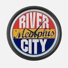 Memphis Vintage Label Large Wall Clock