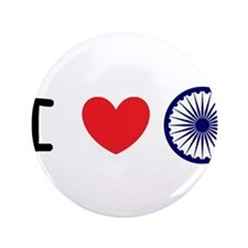 "I love India - Ashok Chakra 3.5"" Button"