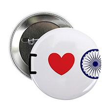 """I love India - Ashok Chakra 2.25"""" Button"""