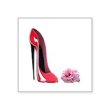 Red Stiletto Shoe and Rose.jpg Square Sticker 3&qu