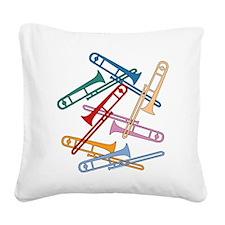 Colorful Trombones Square Canvas Pillow