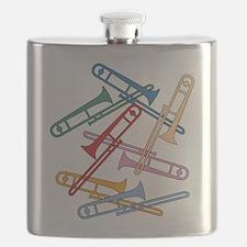 Colorful Trombones Flask