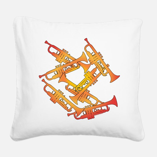 Fiery Trumpets Square Canvas Pillow