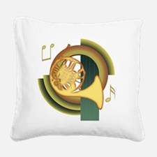 French Horn Deco Square Canvas Pillow