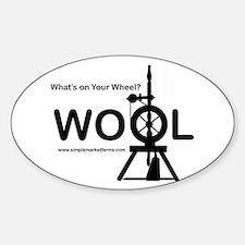 Wool on Wheel - Oval Car Sticker (white)