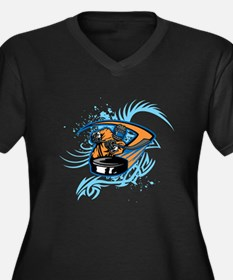 Ice Hockey. Women's Plus Size V-Neck Dark T-Shirt