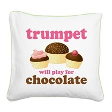 Trumpet Chocolate Music Square Canvas Pillow