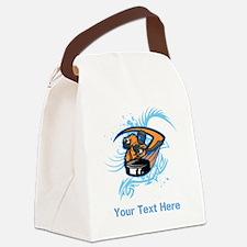 Ice Hockey. Custom Blue Text. Canvas Lunch Bag