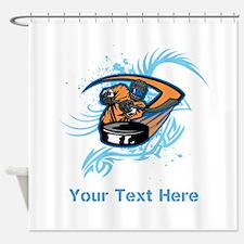 Ice Hockey. Custom Blue Text. Shower Curtain