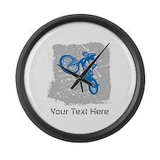 Stunt Bike Rider with Custom Text. Large Wall Cloc