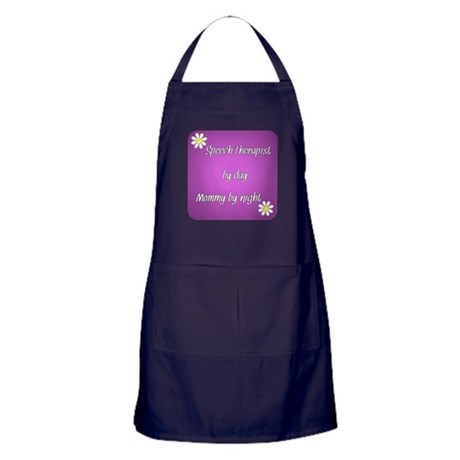 Speech Therapist by day Mommy by night Apron (dark