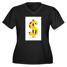 Dollars Women's Plus Size V-Neck Dark T-Shirt