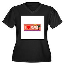 I love Maui Women's Plus Size V-Neck Dark T-Shirt
