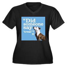 Treat Dog Women's Plus Size V-Neck Dark T-Shirt